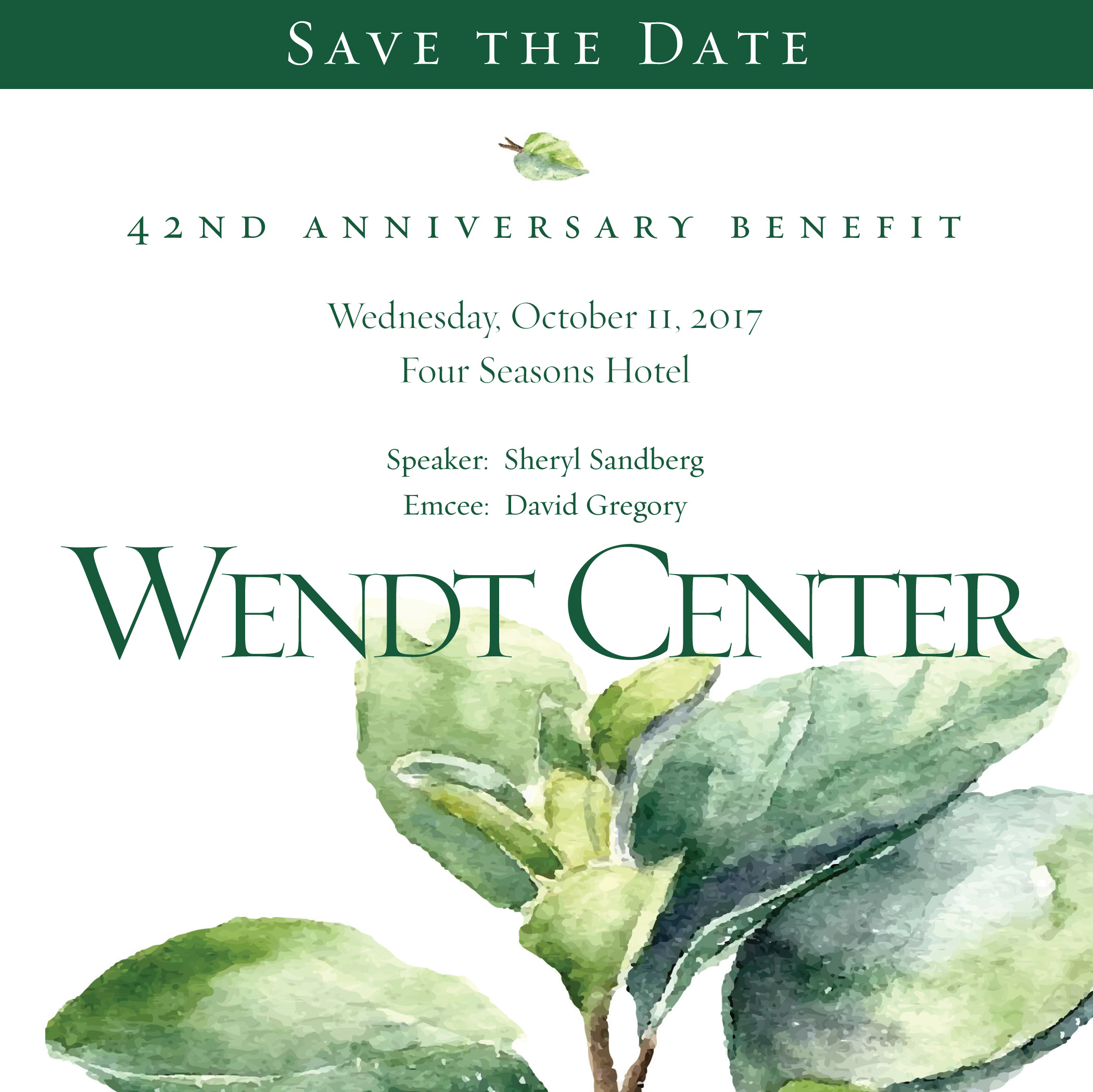 Save the Date - Wendt 42nd Annual Benefit - October 11, 2017
