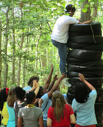Camper on confidence course